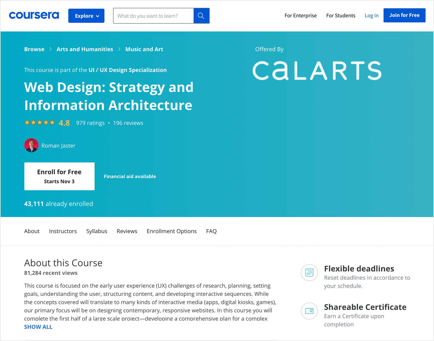 web design strategy course by coursera